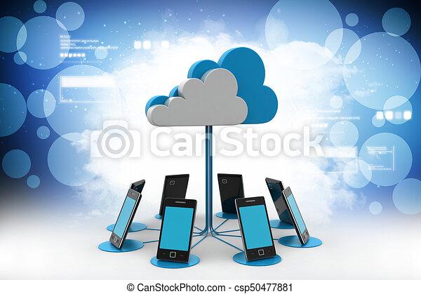 réseau, calculer, couleur, téléphones, nuage, fond, intelligent - csp50477881