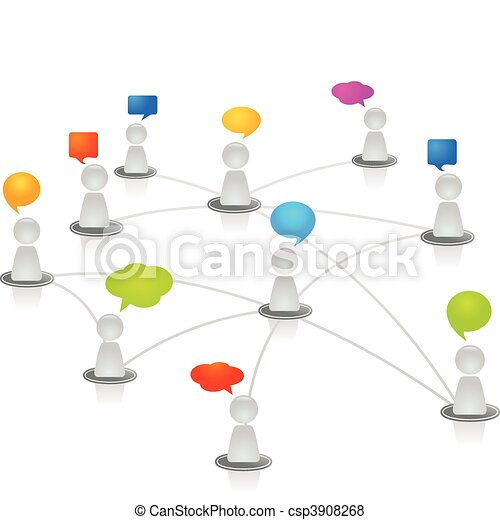 réseau, humain - csp3908268