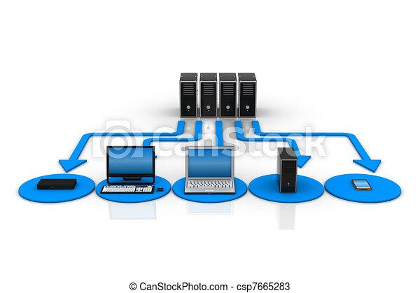 réseau, informatique - csp7665283