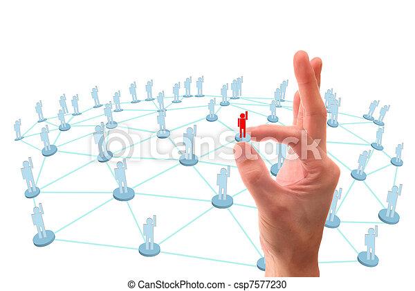réseau, point, social, connexion, main - csp7577230