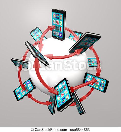 réseau, téléphones, global, apps, communication, intelligent - csp5844863