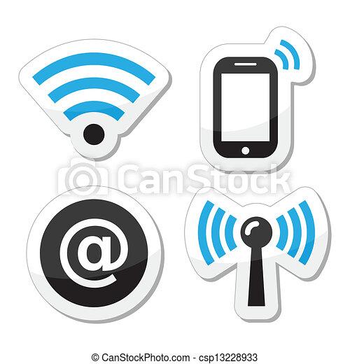 réseau, wifi, internet, zone, icônes - csp13228933