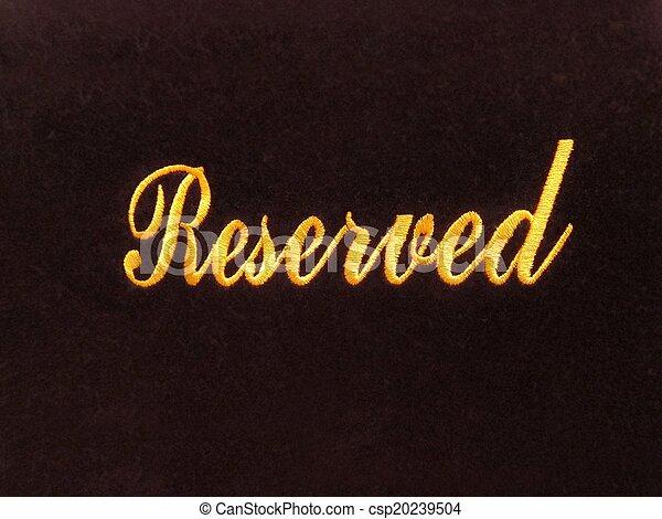réservation, concept, signe réservé - csp20239504