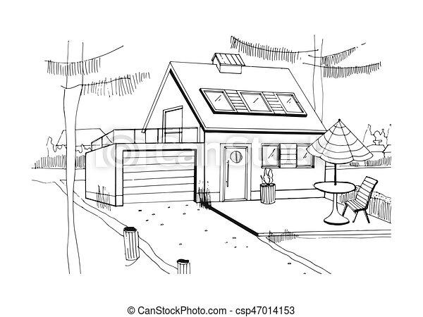 R sidentiel croquis illustration house maison for Modernes haus skizze