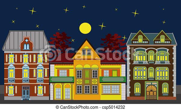 résidentiel, maisons, trois, nuit - csp5014232