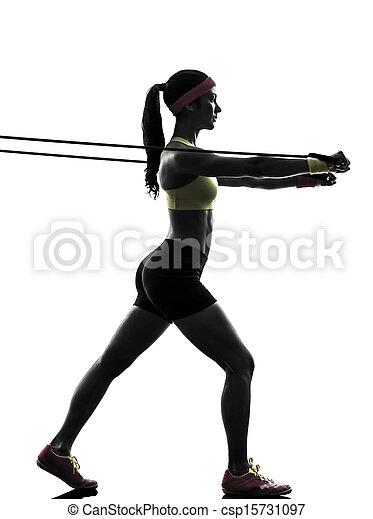 résistance, exercisme, silhouette, bandes, séance entraînement, femme, fitness - csp15731097