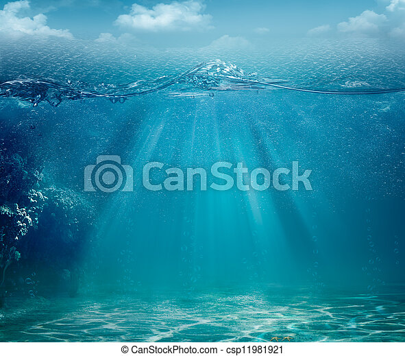 résumé, arrière-plans, océan, conception, mer, ton - csp11981921