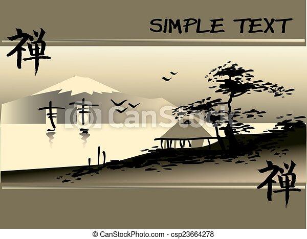 résumé, asiatique, paysage - csp23664278