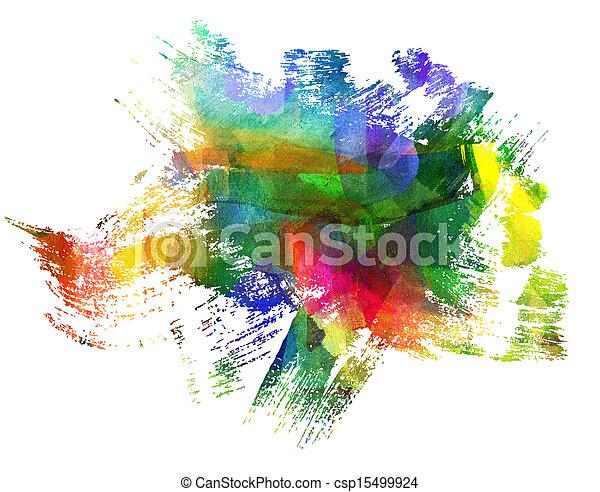 résumé, brouillé, stain., guasch, blob., freehand, painting., dessin, blot. - csp15499924