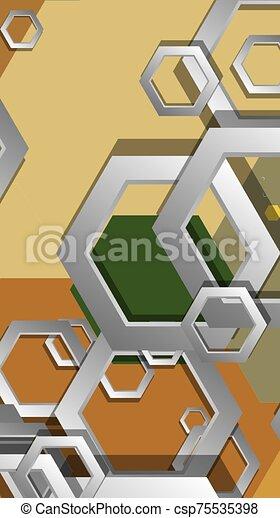 résumé, composition., milieu, géométrique, âges, hexagone, couleur, illustration, fond, vecteur - csp75535398
