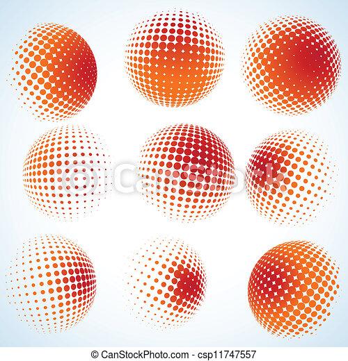 résumé, eps, halftone, 8, cercle, design. - csp11747557