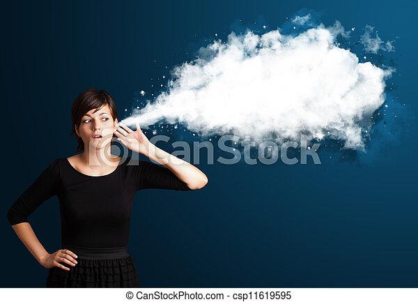 résumé, femme, jeune, nuage - csp11619595