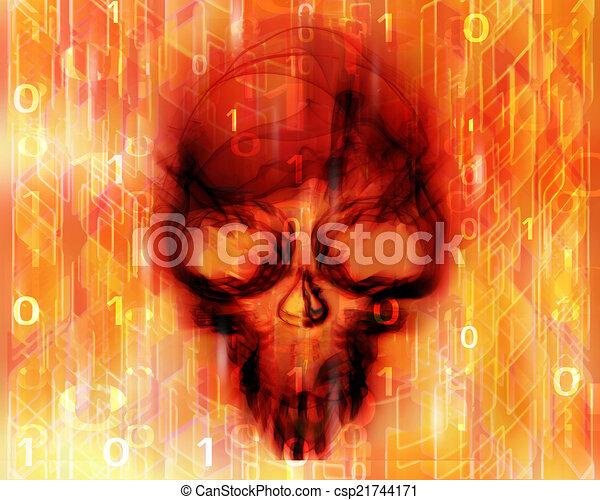 résumé, fond, coloré, crâne, numérique - csp21744171