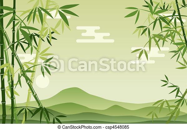 résumé, fond, vert, bambou - csp4548085