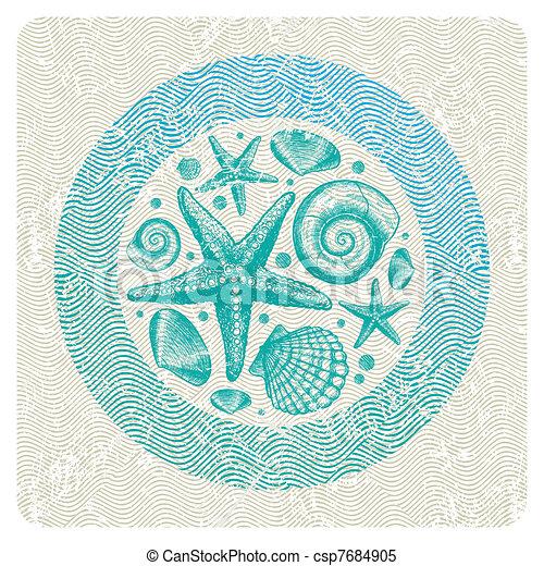 résumé, illustration, main, vecteur, mer, dessiné, faune - csp7684905