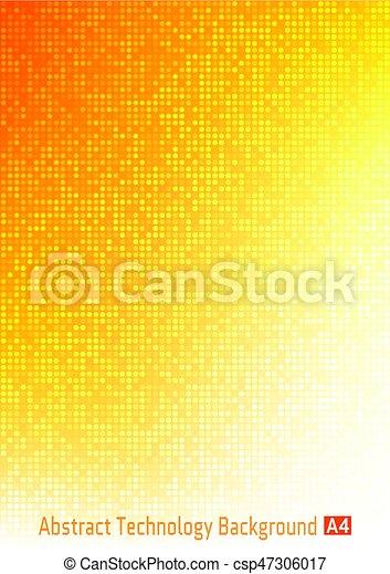 résumé, jaune, orange, clair, papier, couleurs, technologie, coloré,  gradient, modèle, cercle, numérique, size., pixel, business, a4, fond, ...
