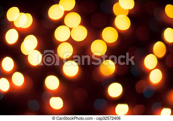 résumé, lights., bokeh., defocused, fond, année, nouveau, noël - csp32572406