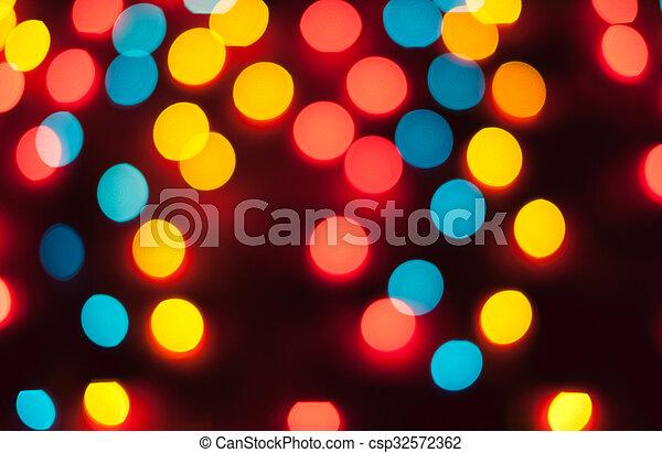résumé, lights., bokeh., defocused, fond, année, nouveau, noël - csp32572362