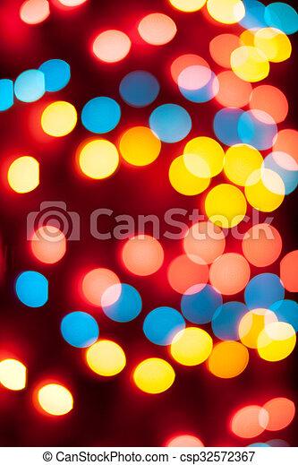 résumé, lights., bokeh., defocused, fond, année, nouveau, noël - csp32572367