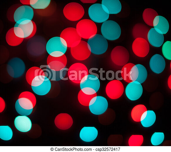 résumé, lights., bokeh., defocused, fond, année, nouveau, noël - csp32572417