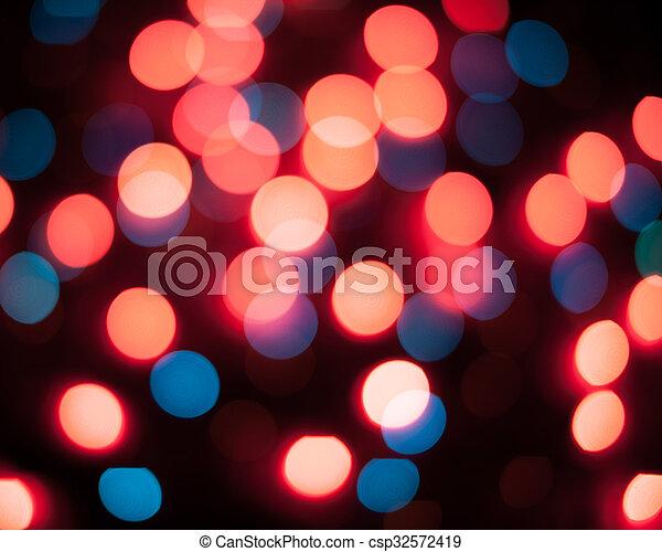 résumé, lights., bokeh., defocused, fond, année, nouveau, noël - csp32572419