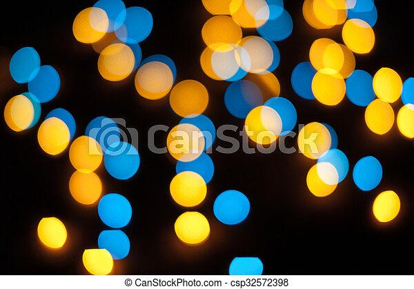 résumé, lights., bokeh., defocused, fond, année, nouveau, noël - csp32572398