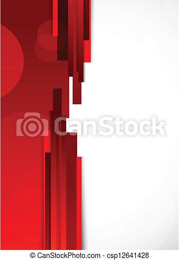 résumé, lignes, arrière-plan rouge - csp12641428