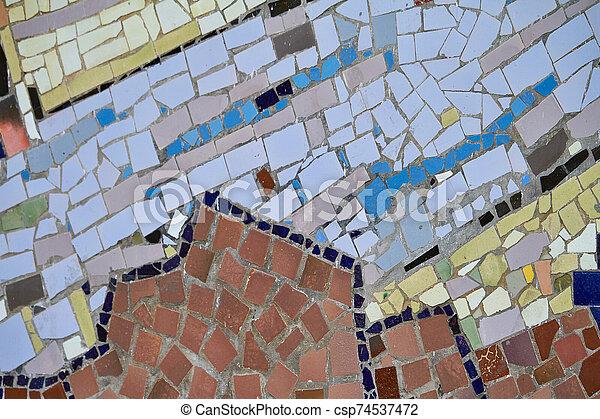 résumé, mosaïque, élément, multicolore, céramique, foyer., sélectif - csp74537472