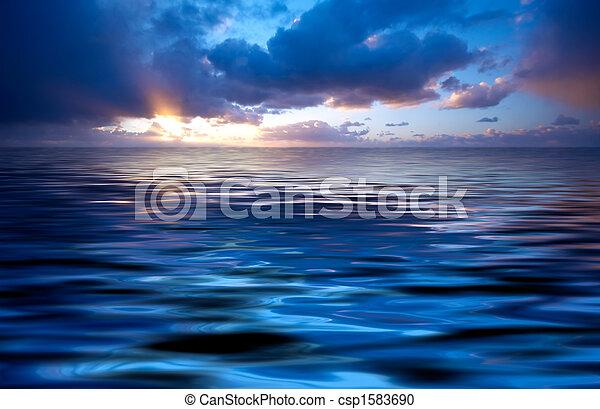 résumé, océan coucher soleil - csp1583690