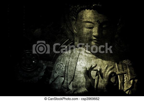 résumé, papier peint, temple, fond, chinois - csp3969662