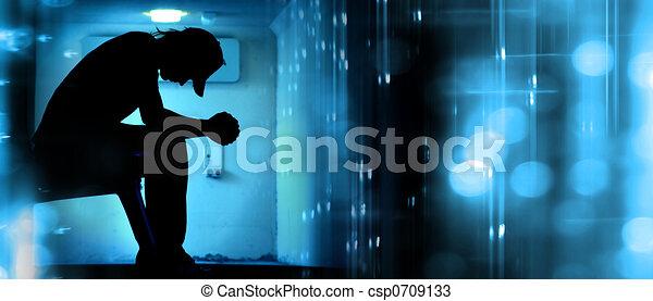 résumé, prier, silhouette - csp0709133