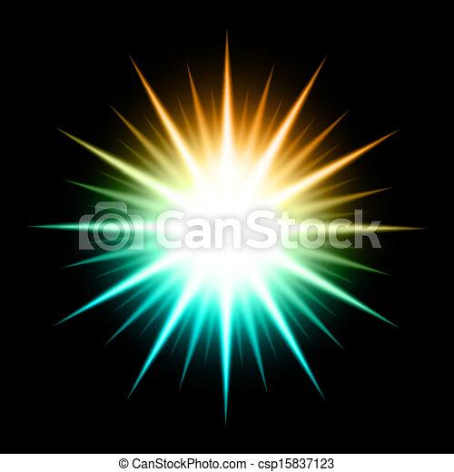 résumé, vecteur, étoile, incandescent, fond - csp15837123