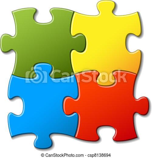 résumé, vecteur, puzzle, fond - csp8138694