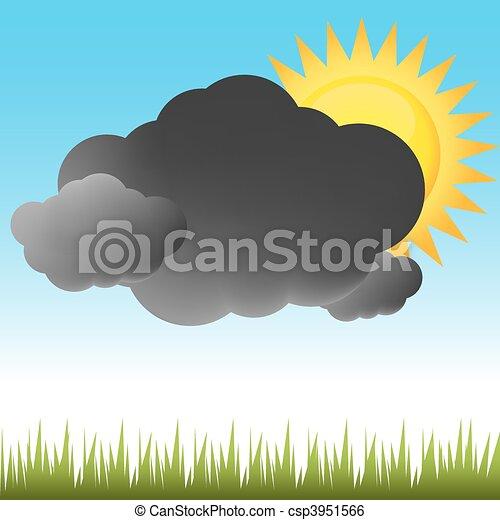 részben, időjárás, napos - csp3951566