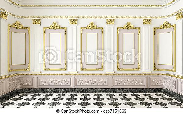 részletek, arany-, mód, szoba, klasszikus - csp7151663