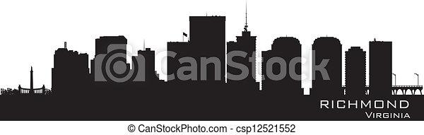 részletes, város, árnykép, richmond, virginia, skyline. - csp12521552