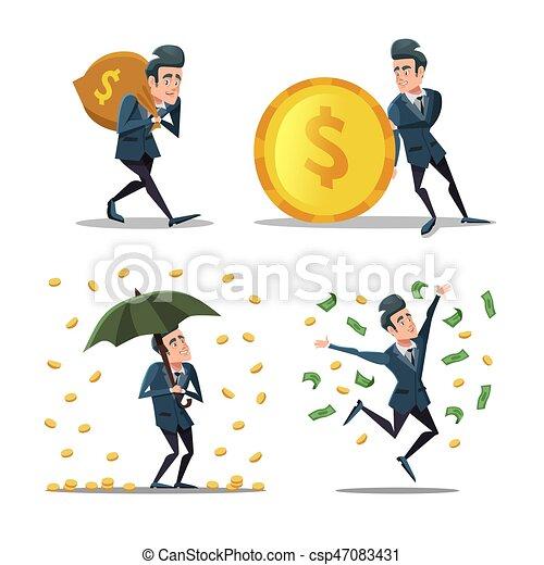 réussi, argent, illustration, vecteur, rain., riche, homme affaires, dessin animé, man. - csp47083431
