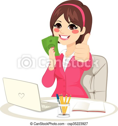 réussi, argent, ventilateur, billet banque, femme affaires - csp35223927