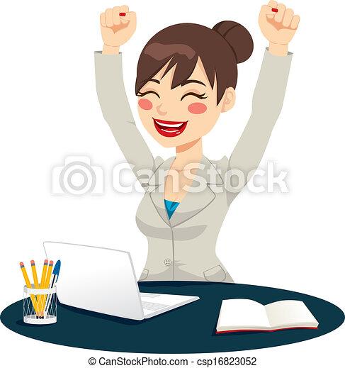 réussi, célébrer, femme, heureux - csp16823052