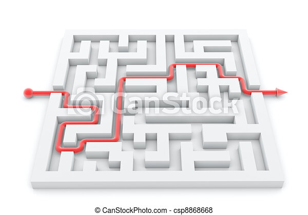 réussi, complété, illustration, piste, flèche, labyrinthe - csp8868668