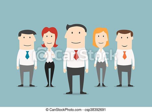 réussi, confiant, éditorial, equipe affaires - csp38392691