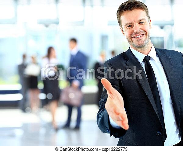 réussi, donner, homme affaires, portrait, main - csp13222773