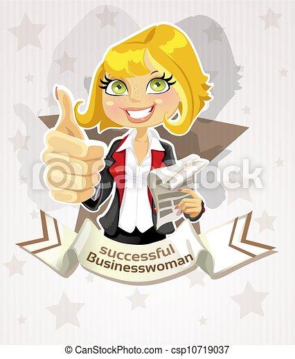 réussi, femme affaires, affiche - csp10719037