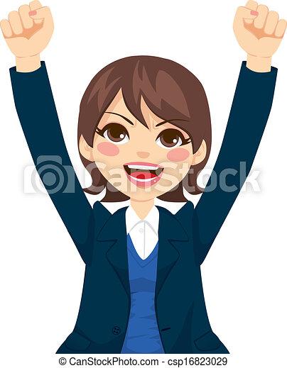 réussi, femme affaires, heureux - csp16823029