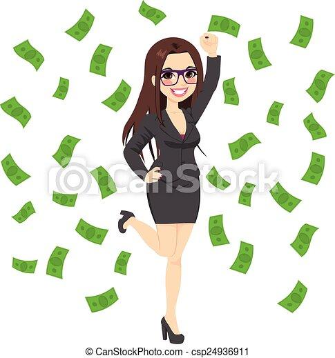 réussi, femme, brunette, riche, business - csp24936911