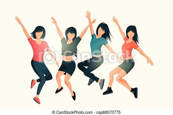 réussi, heureux, sauter, femmes - csp68070775
