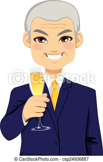 réussi, homme affaires, personne agee, grillage, champagne - csp24936887