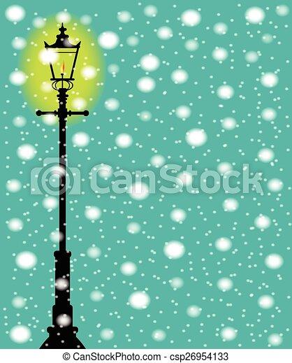 réverbère, neige - csp26954133