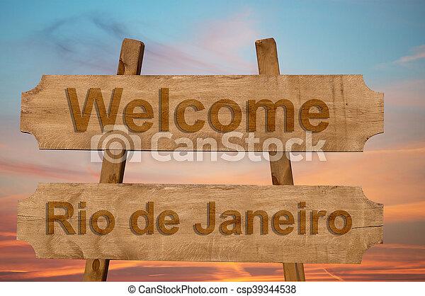 Bienvenidos a Río de Janeiro en Brasil - csp39344538