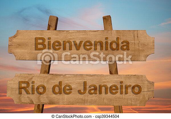 Bienvenida a Río de Janeiro en Brasil - csp39344504
